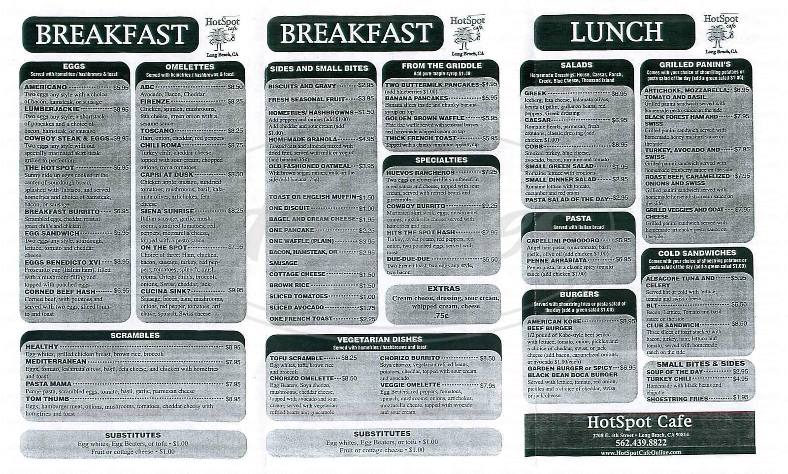 menu for Hotspot Café