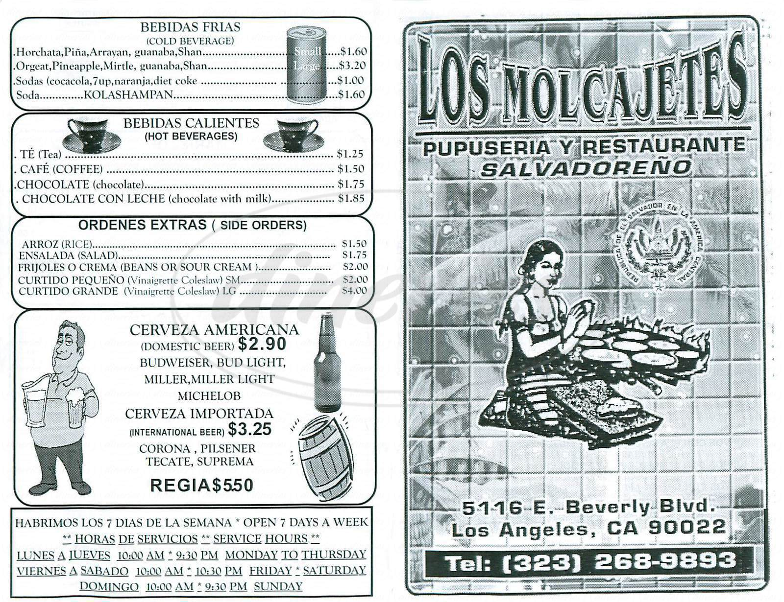 menu for Los Molcajetes