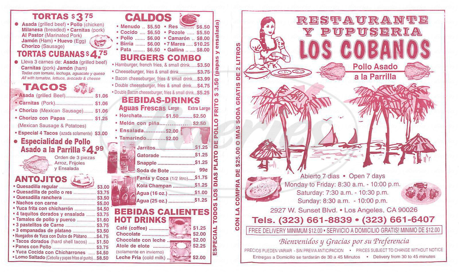 menu for Los Cobanos
