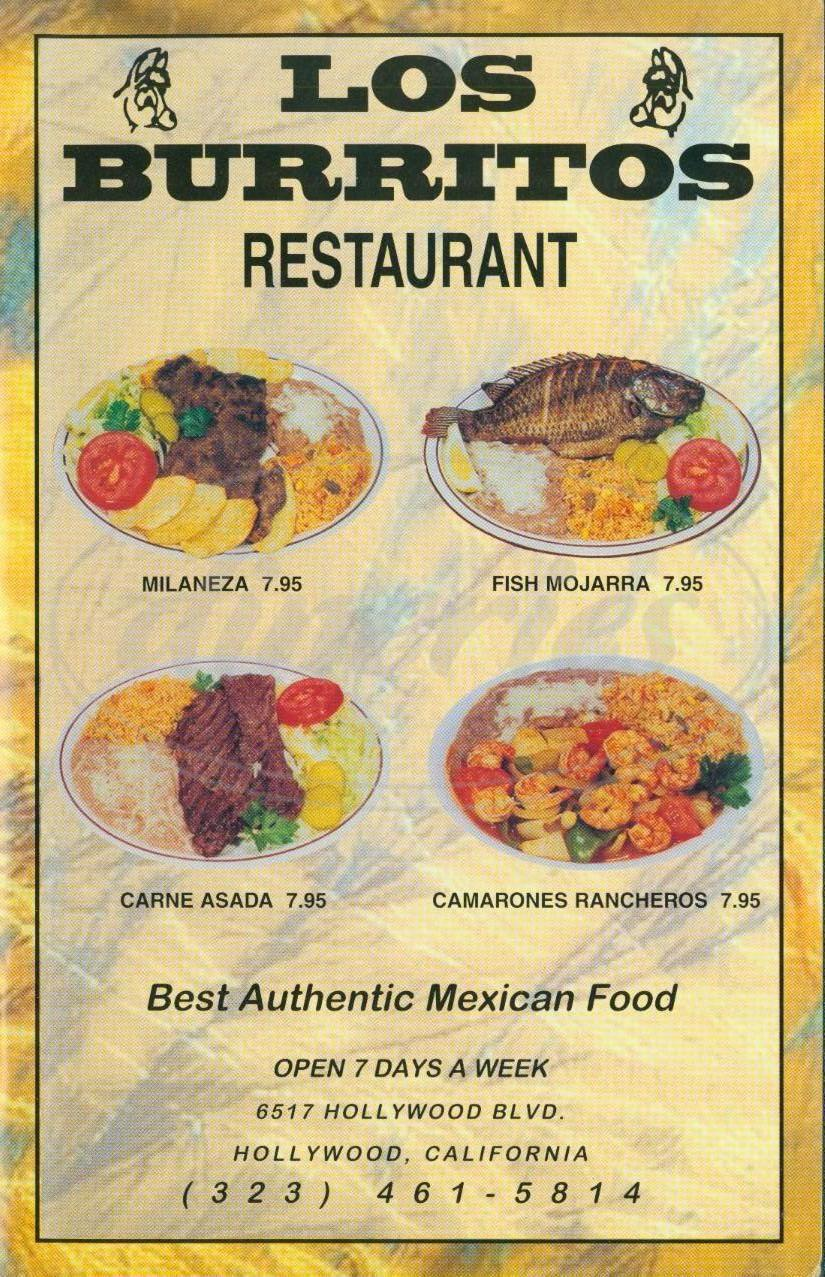 menu for Los Burritos