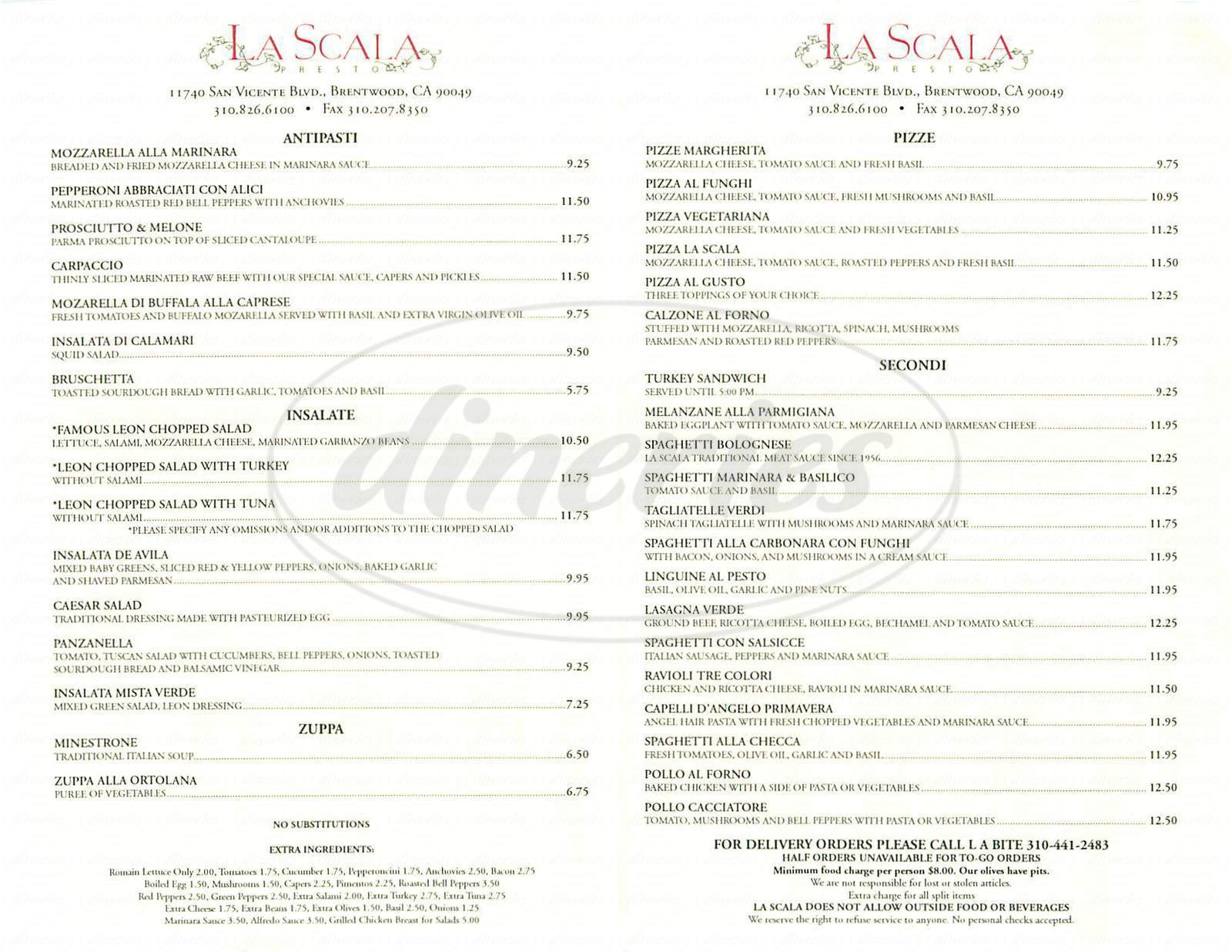 menu for La Scala