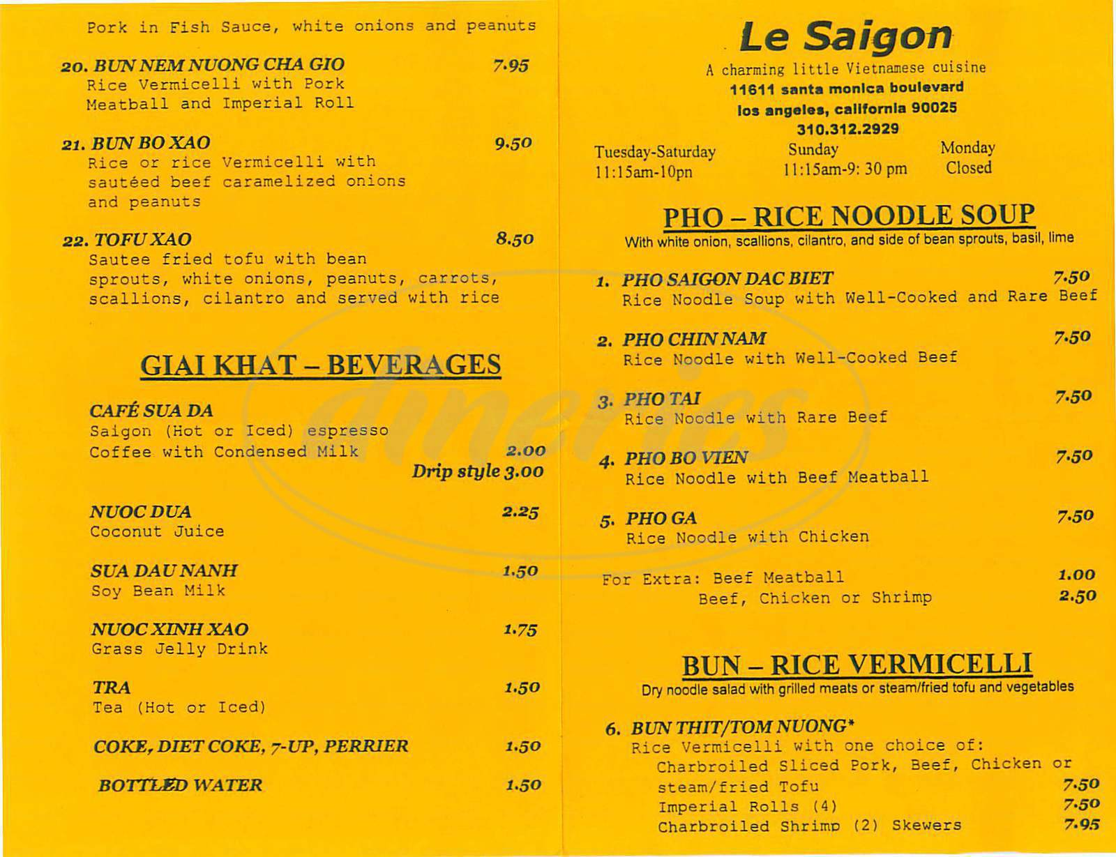 menu for Le Saigon
