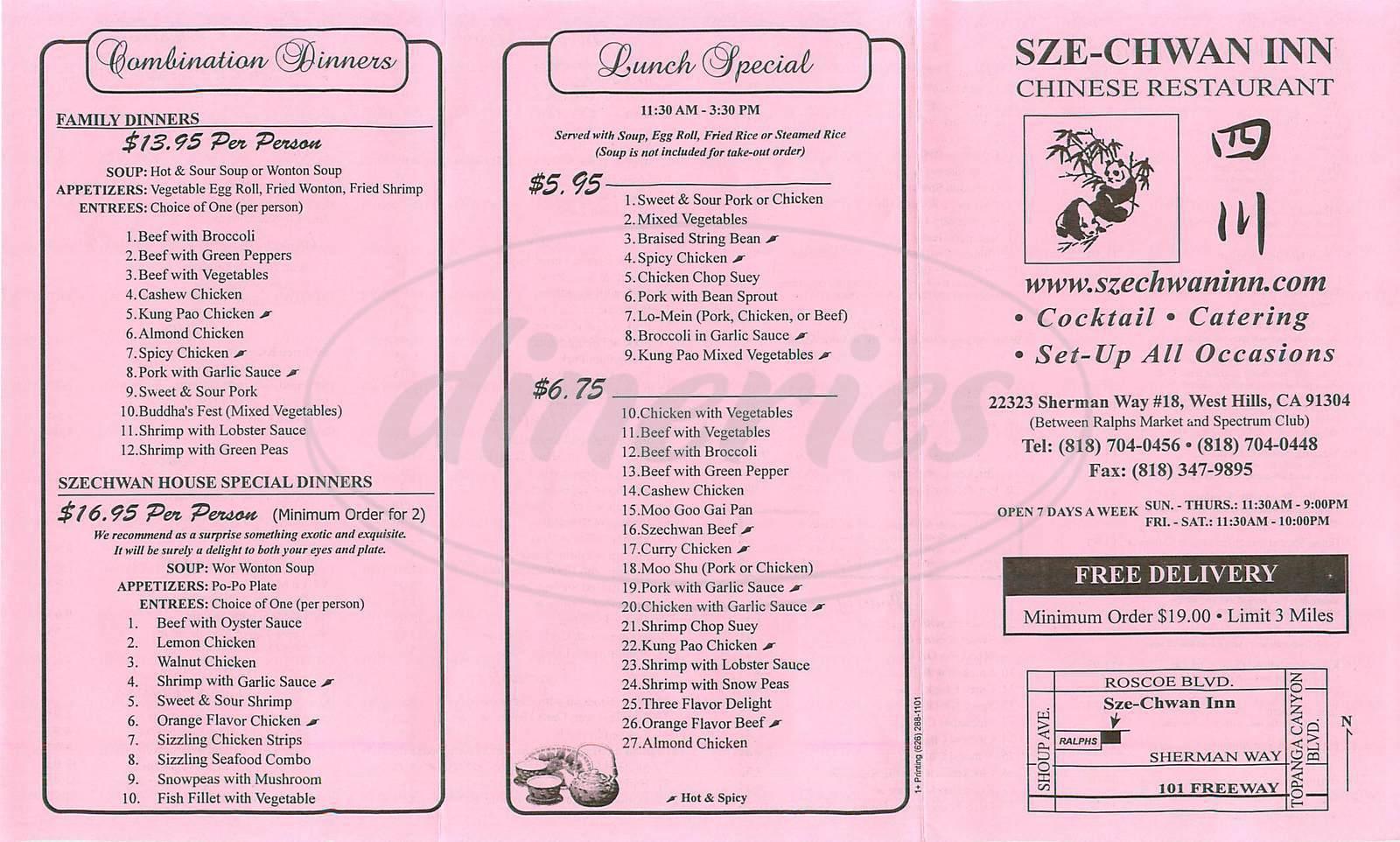 menu for Szechwan Inn