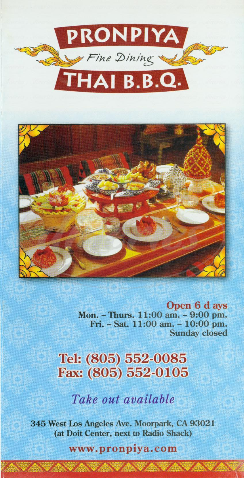 menu for Pronpiya Thai Bbq