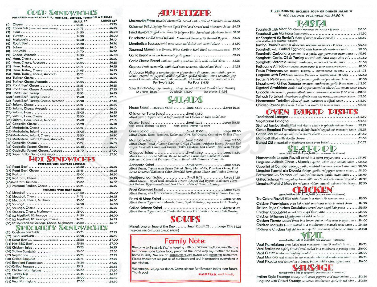 menu for Fratellis Pizza & Deli