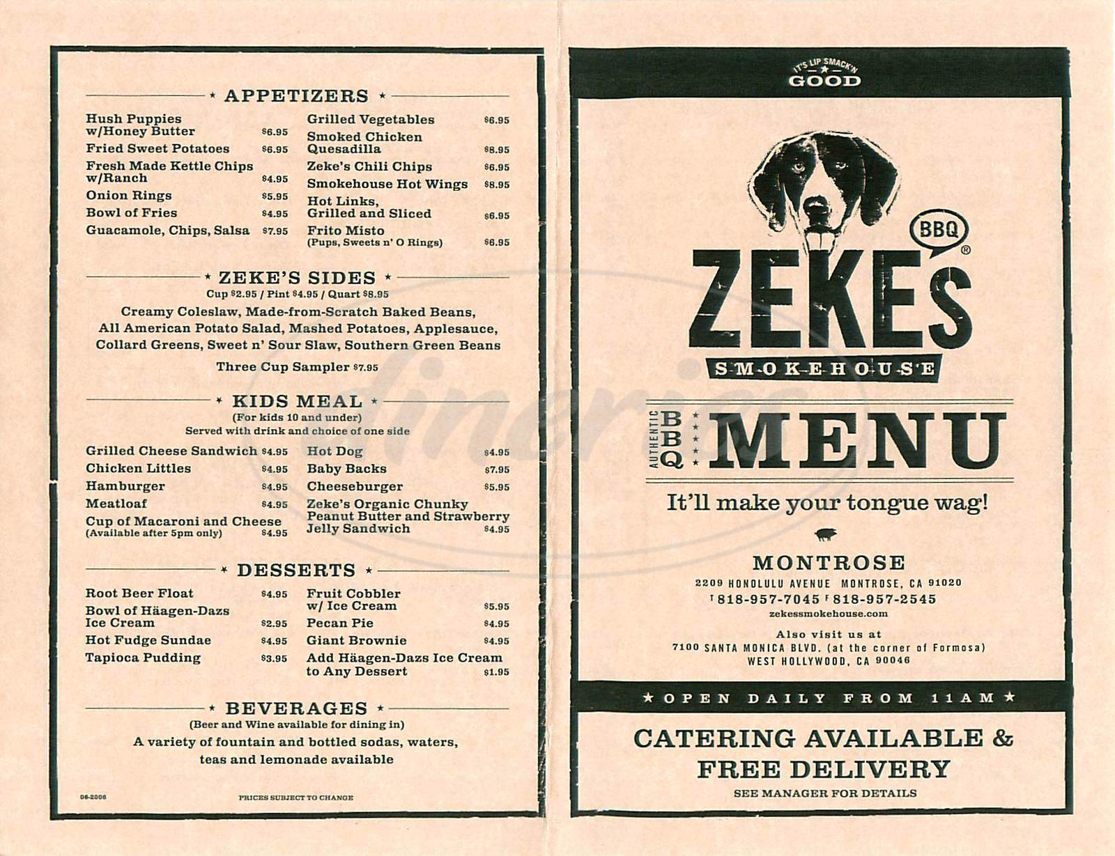 menu for Zeke's Smokehouse
