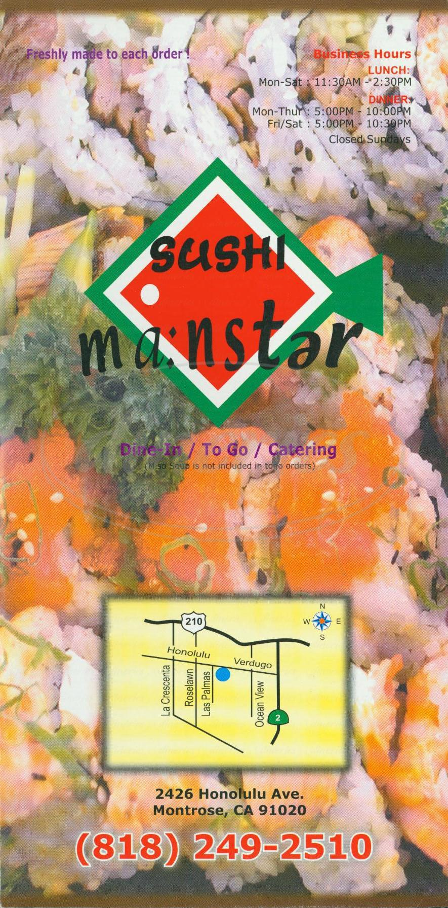 menu for Sushi Ma nster