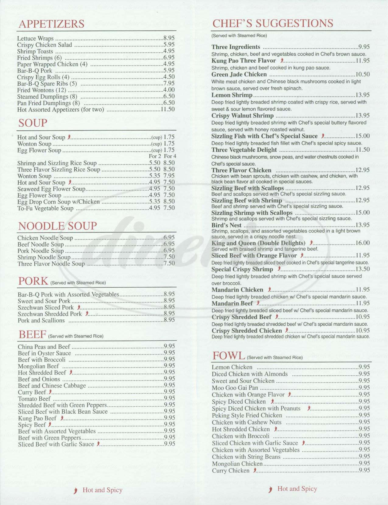 menu for Sun Palace