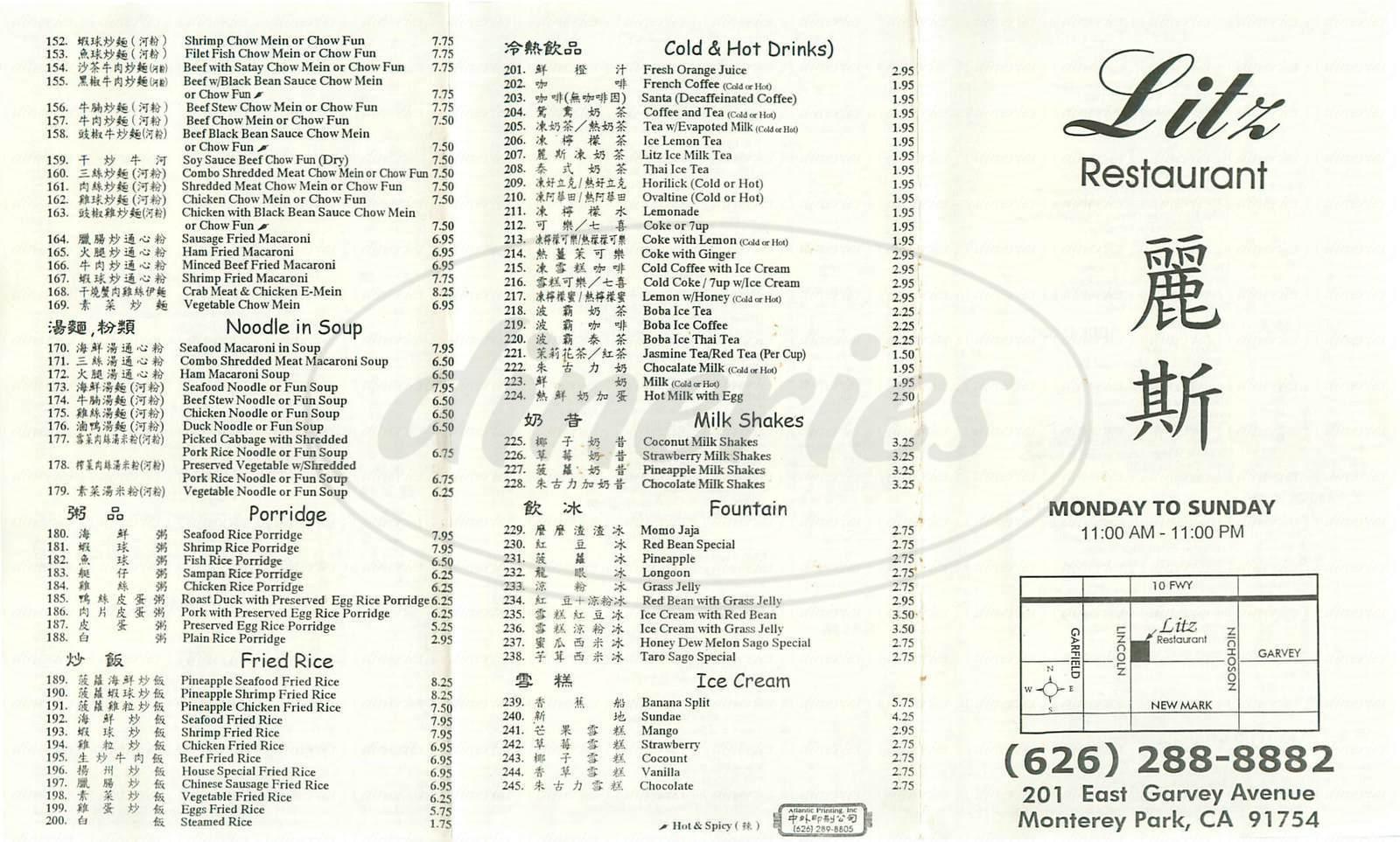 menu for Litz Restaurant