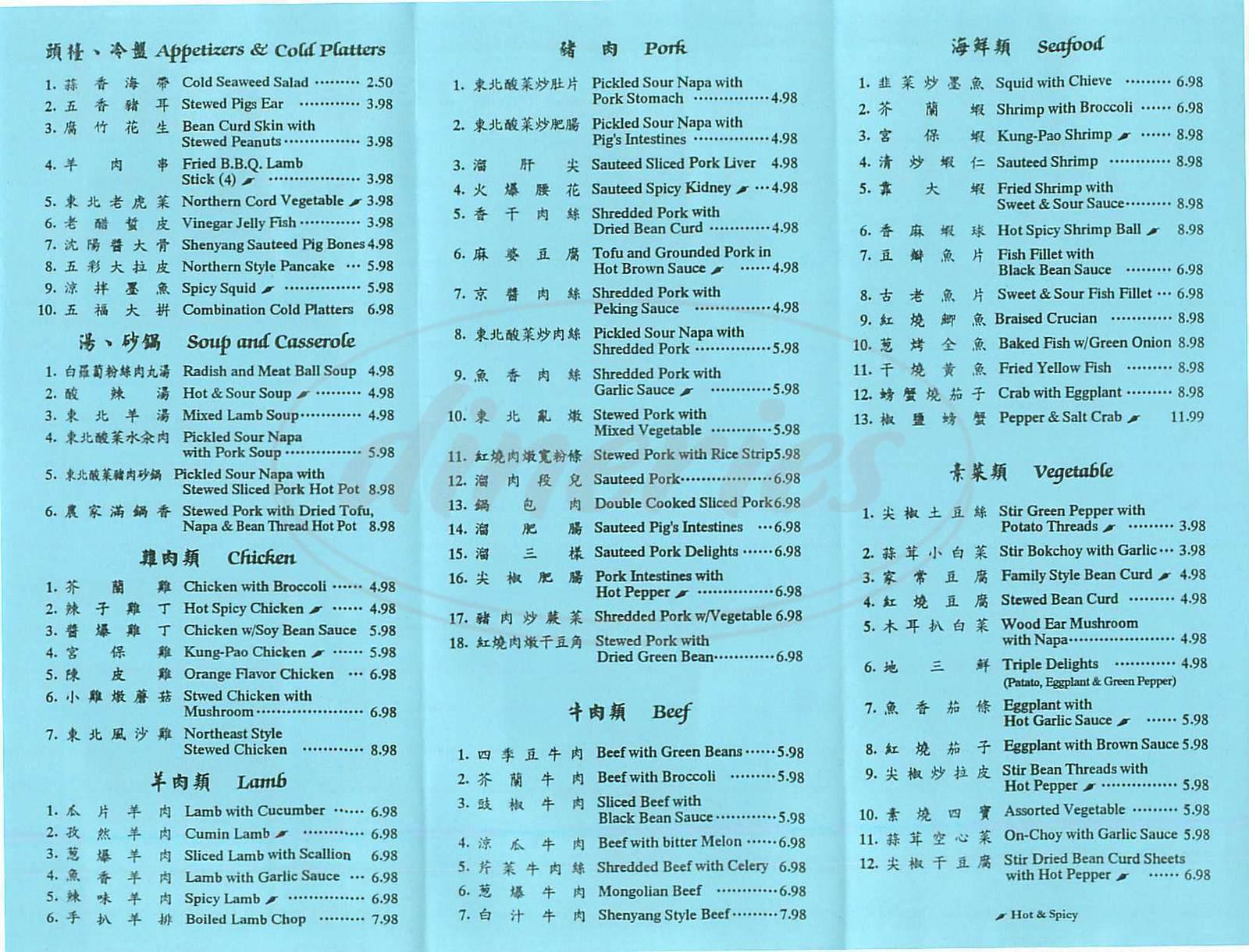 menu for Shenyang