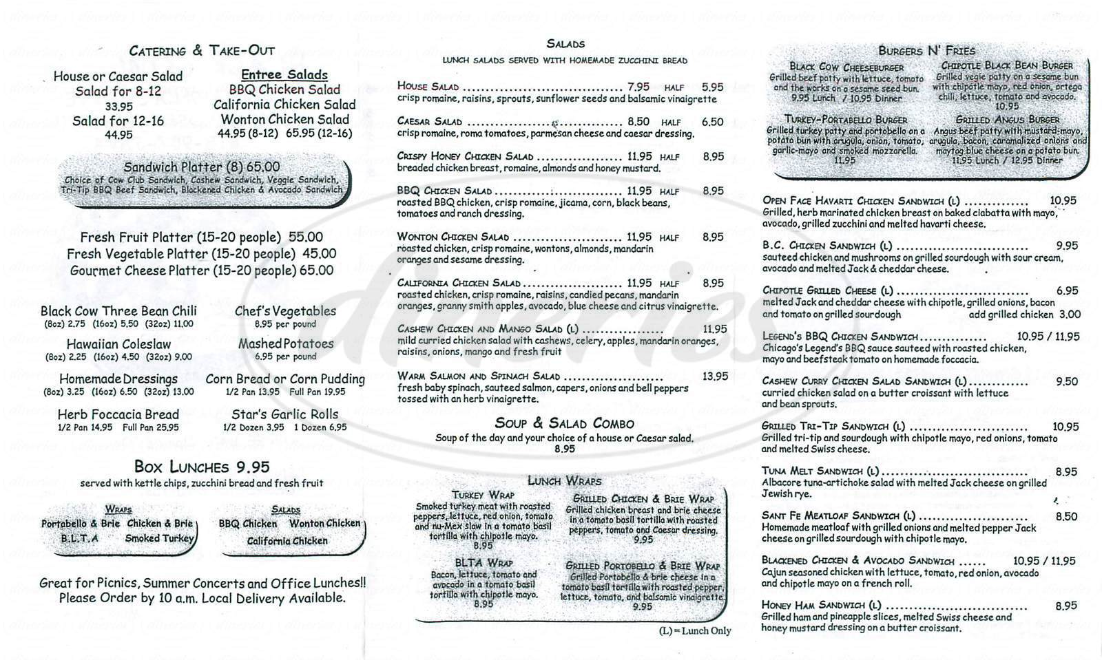 menu for Black Cow Café