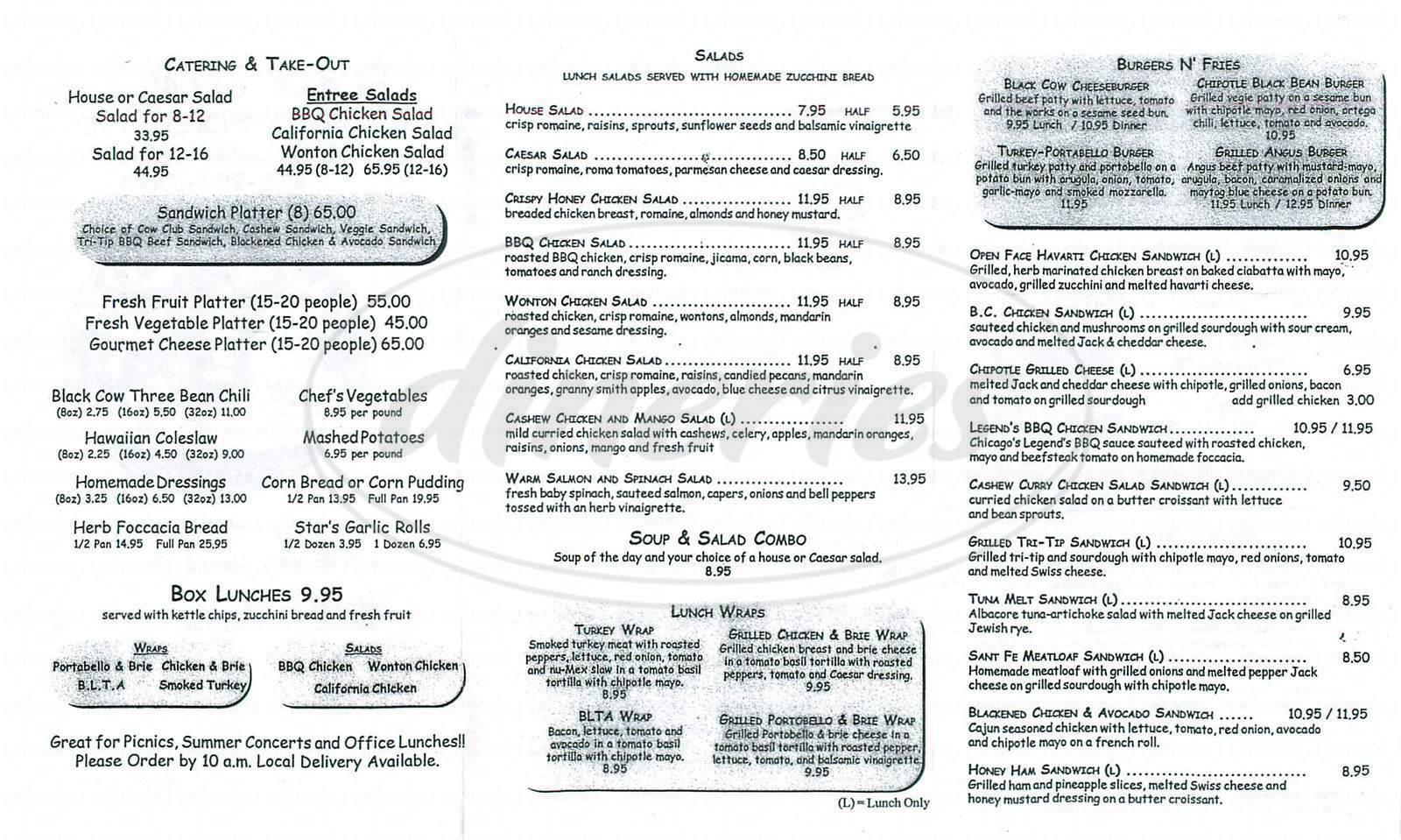 menu for Black Cow Café