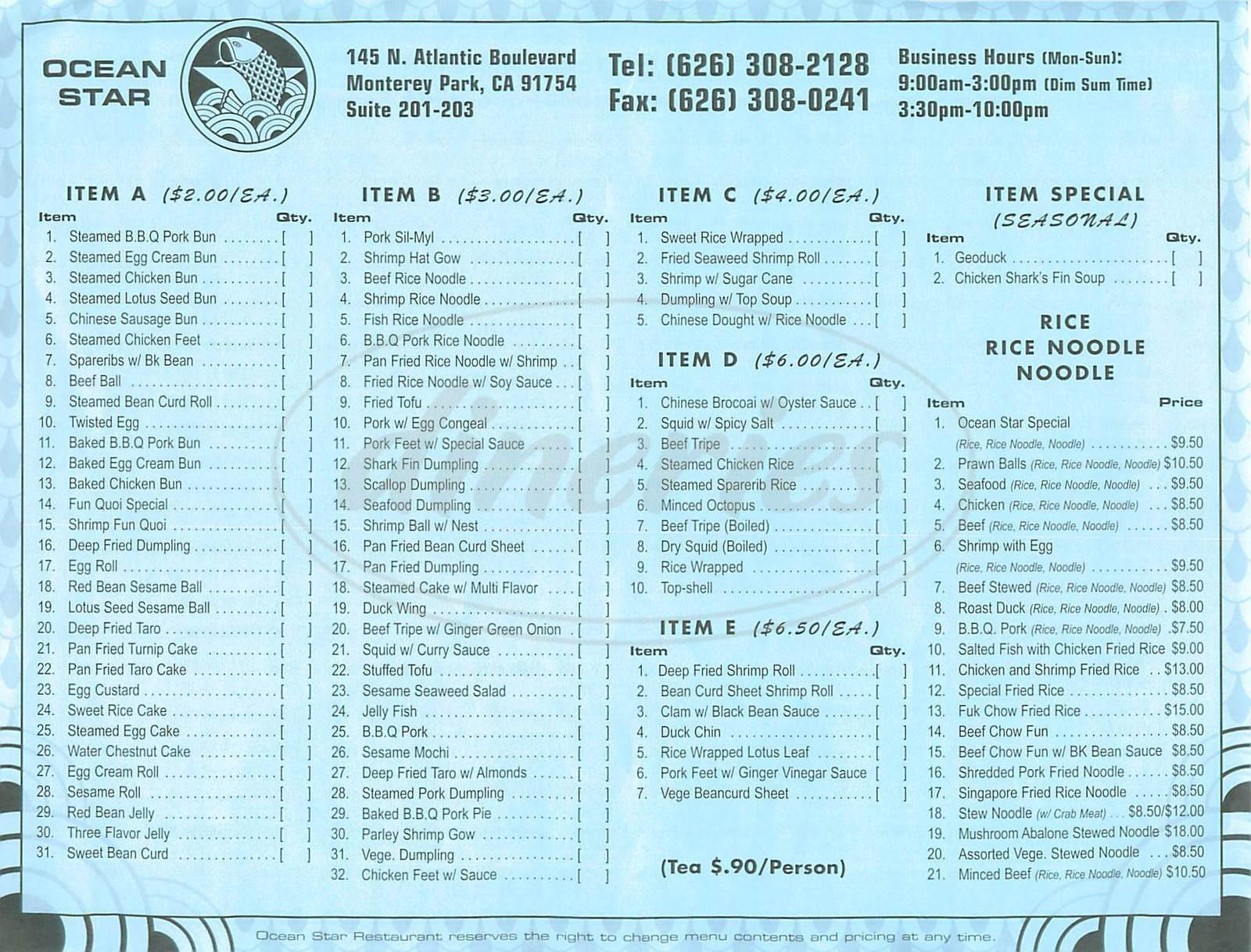 menu for Ocean Star Restaurant