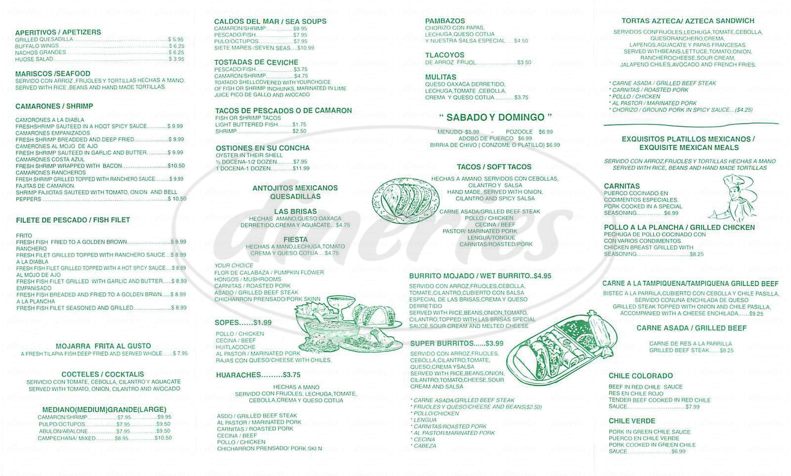 menu for Las Brisas