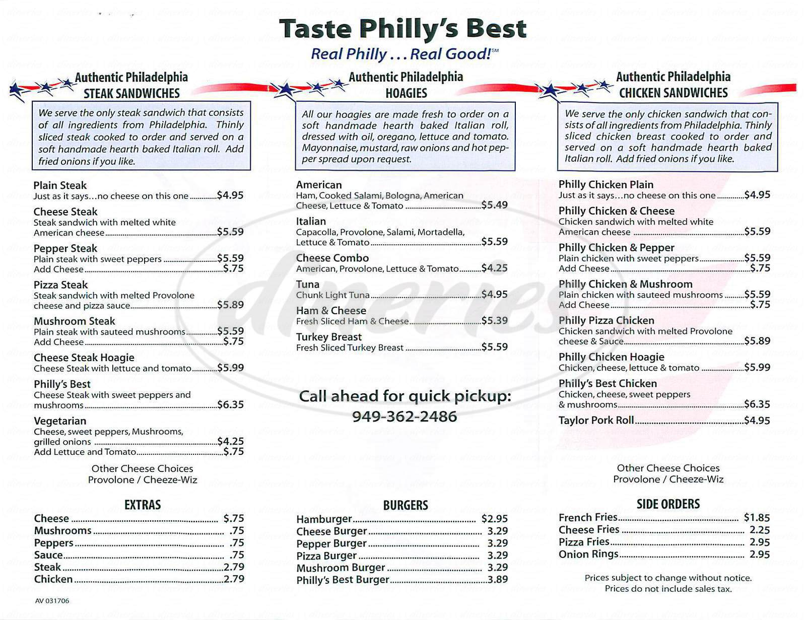 menu for Philly's Best