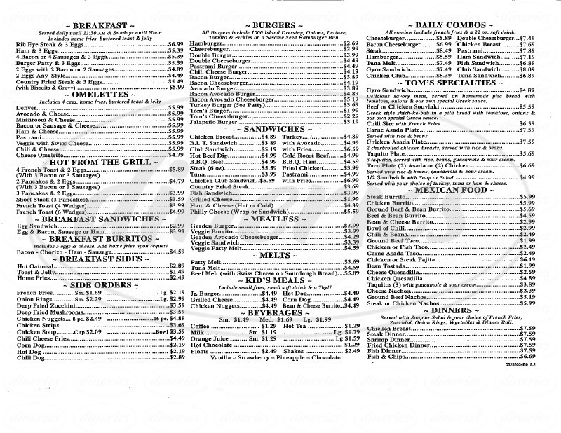 menu for Toms Place