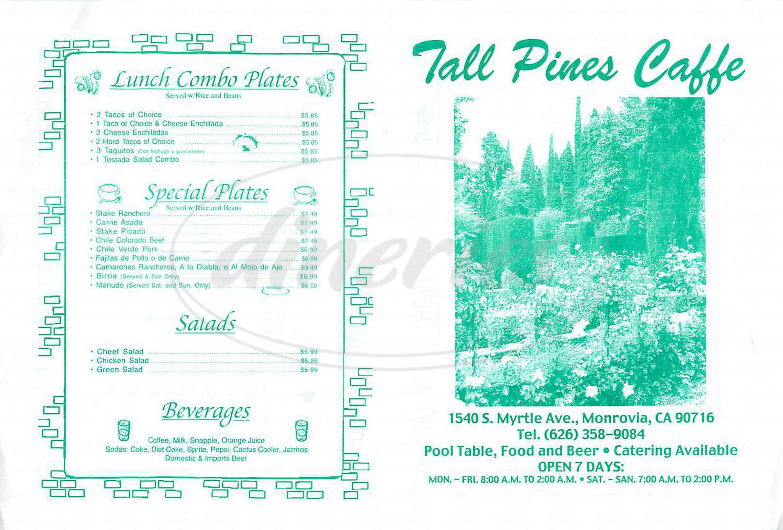 menu for Tall Pines Caffe