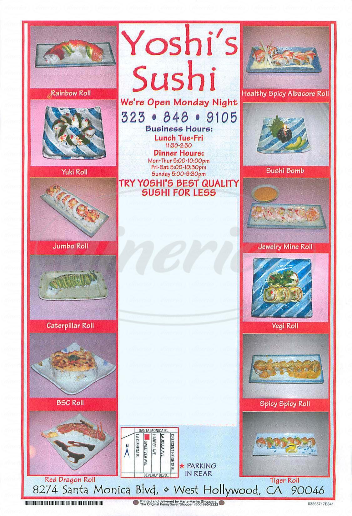 menu for Yoshi's Sushi