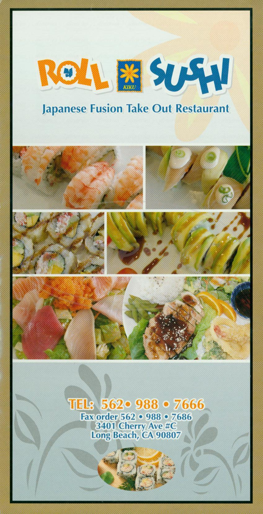 menu for Kiku Roll & Sushi