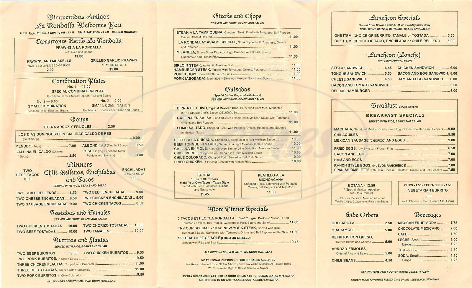 menu for La Rondalla