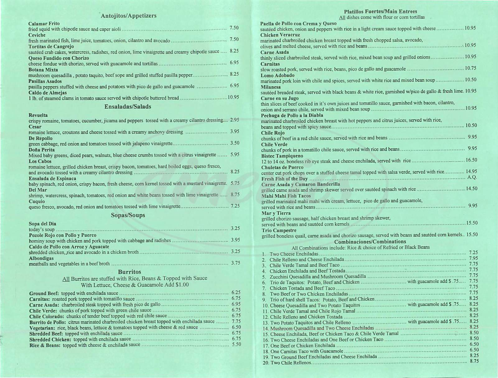 menu for Enriques Mexican Restaurant