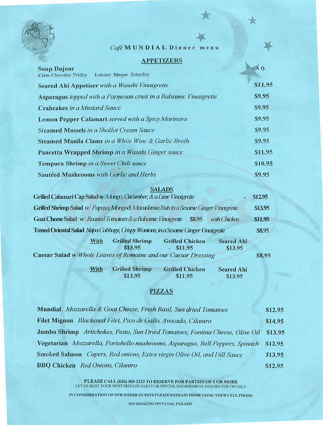 menu for Café Mundial