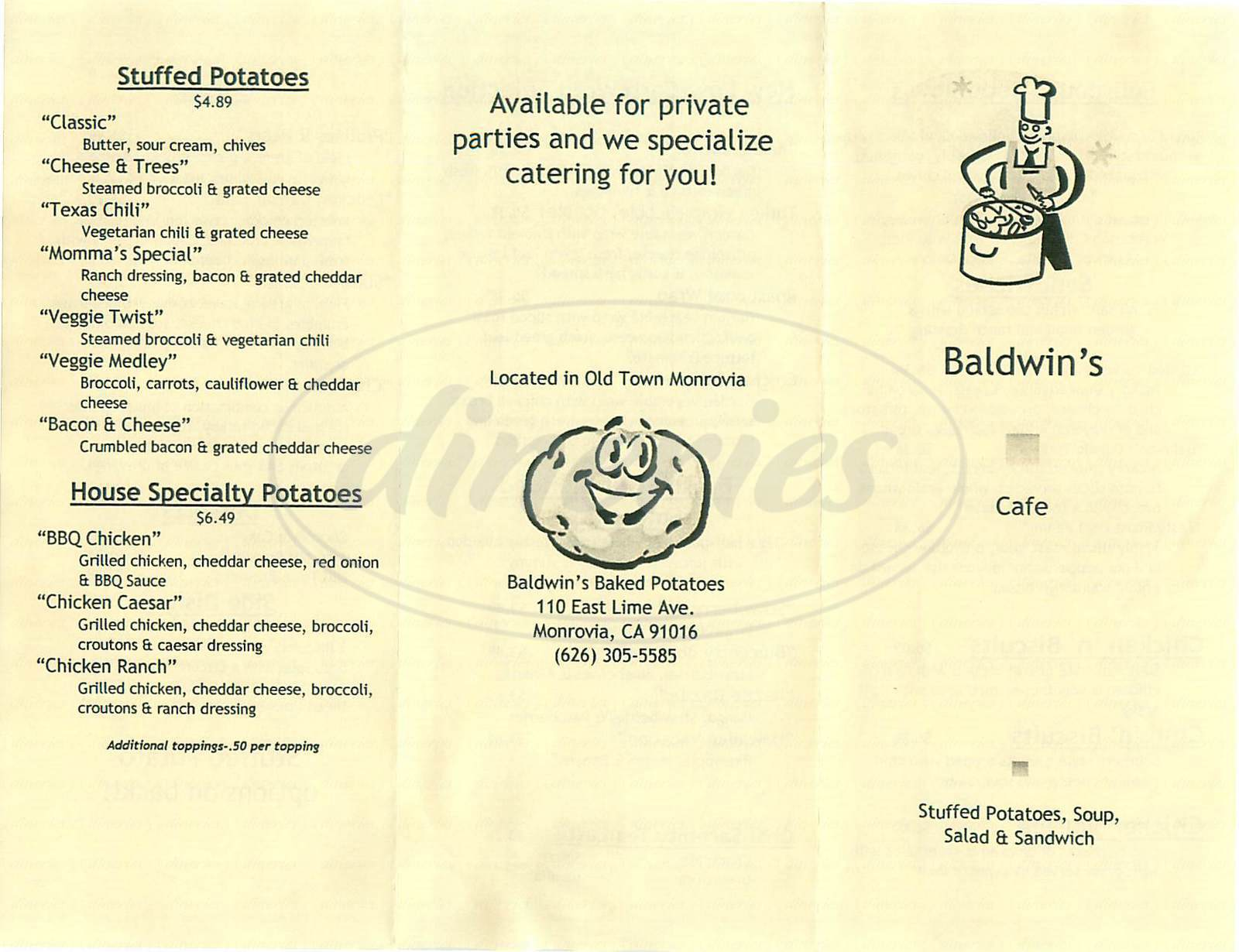 menu for Baldwins Cafe