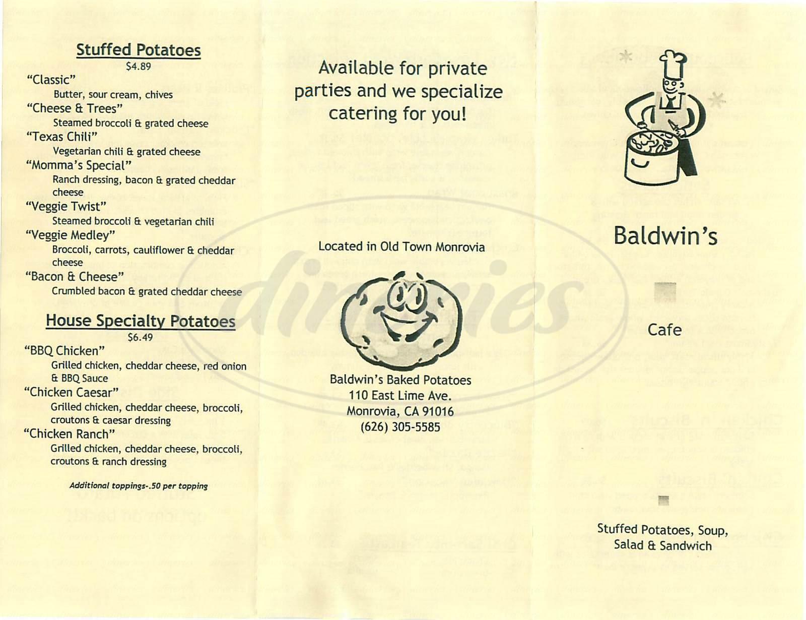 menu for Baldwins Cafe