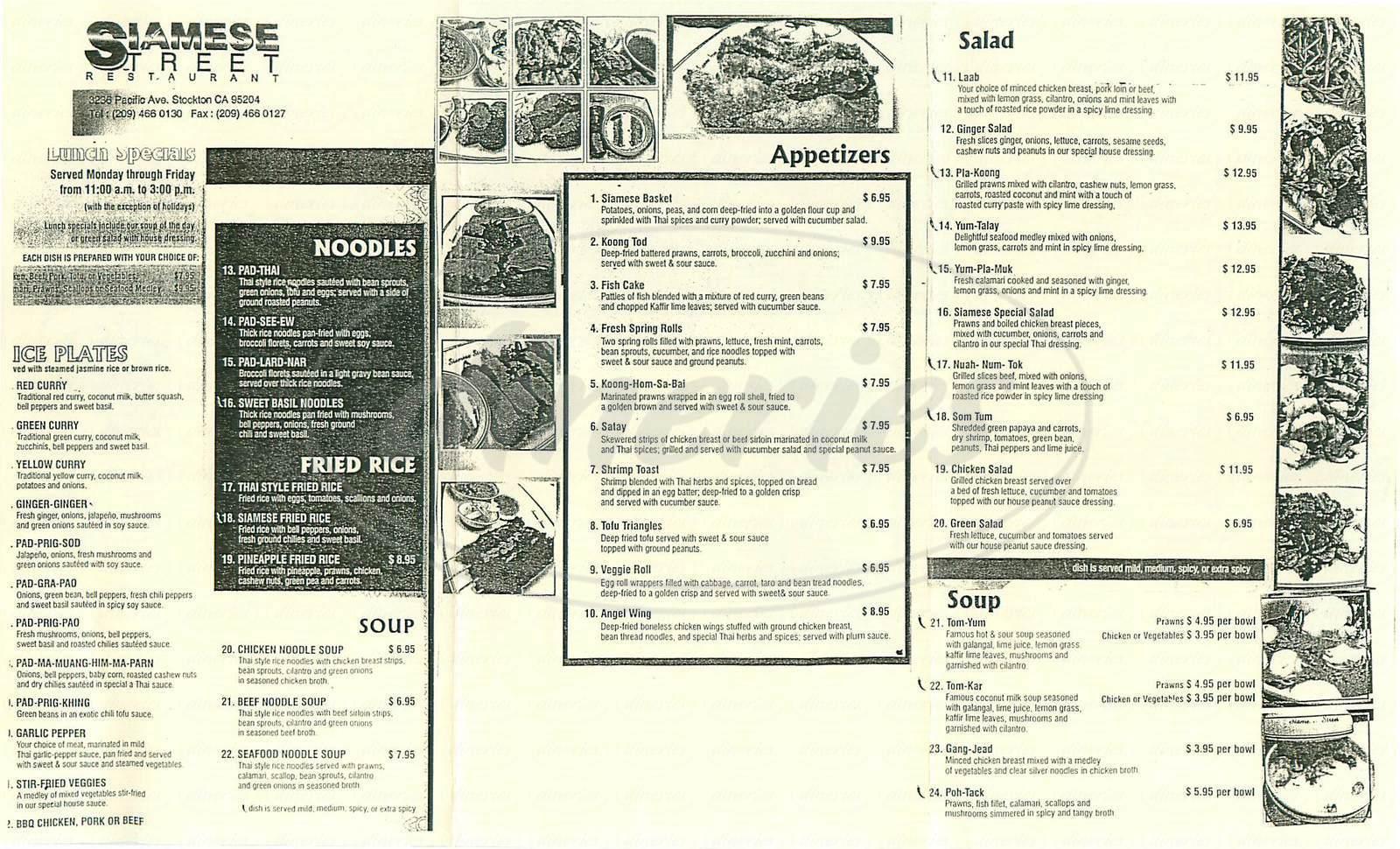 menu for Siamese Street Thai Restaurant