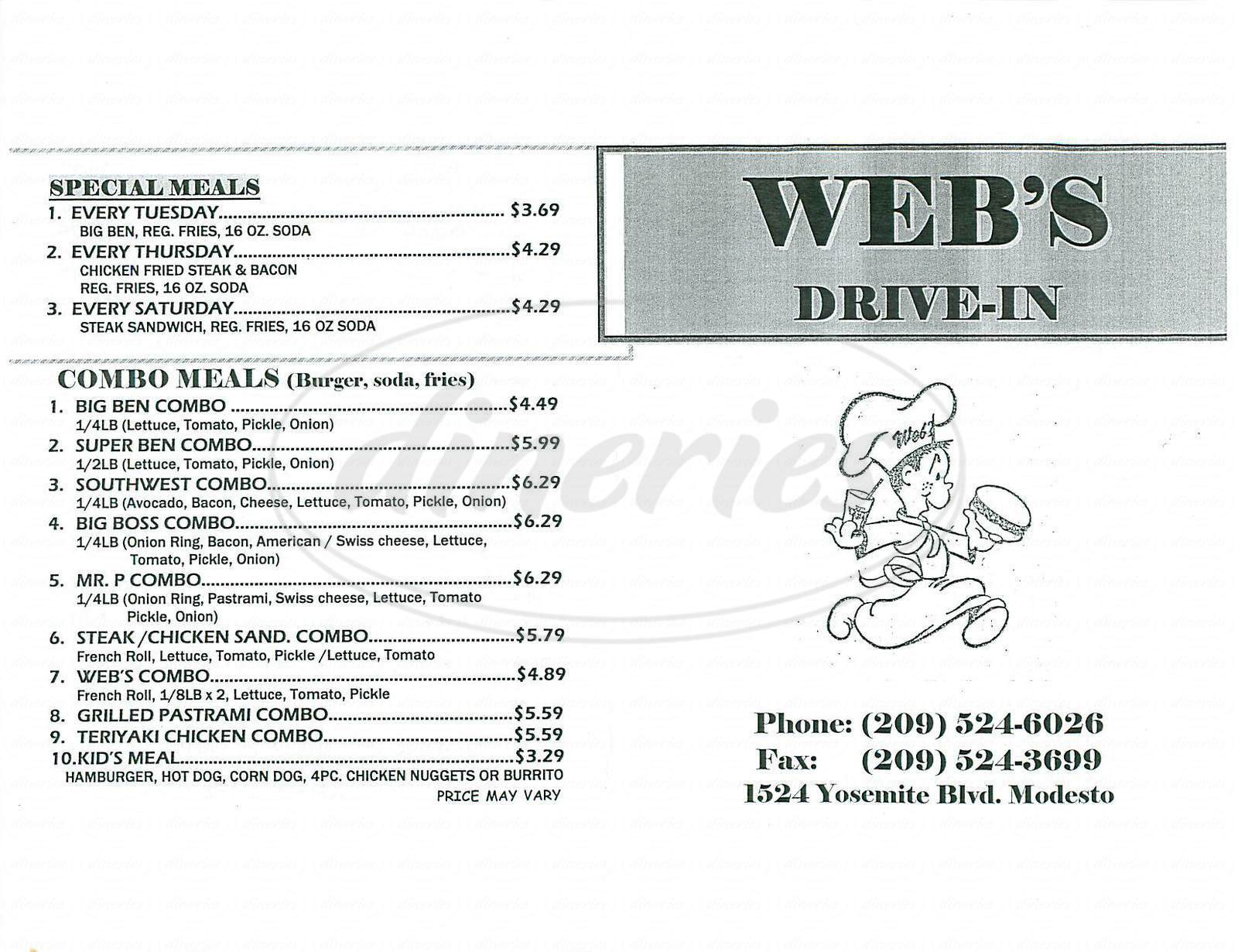 menu for Web's Drive In