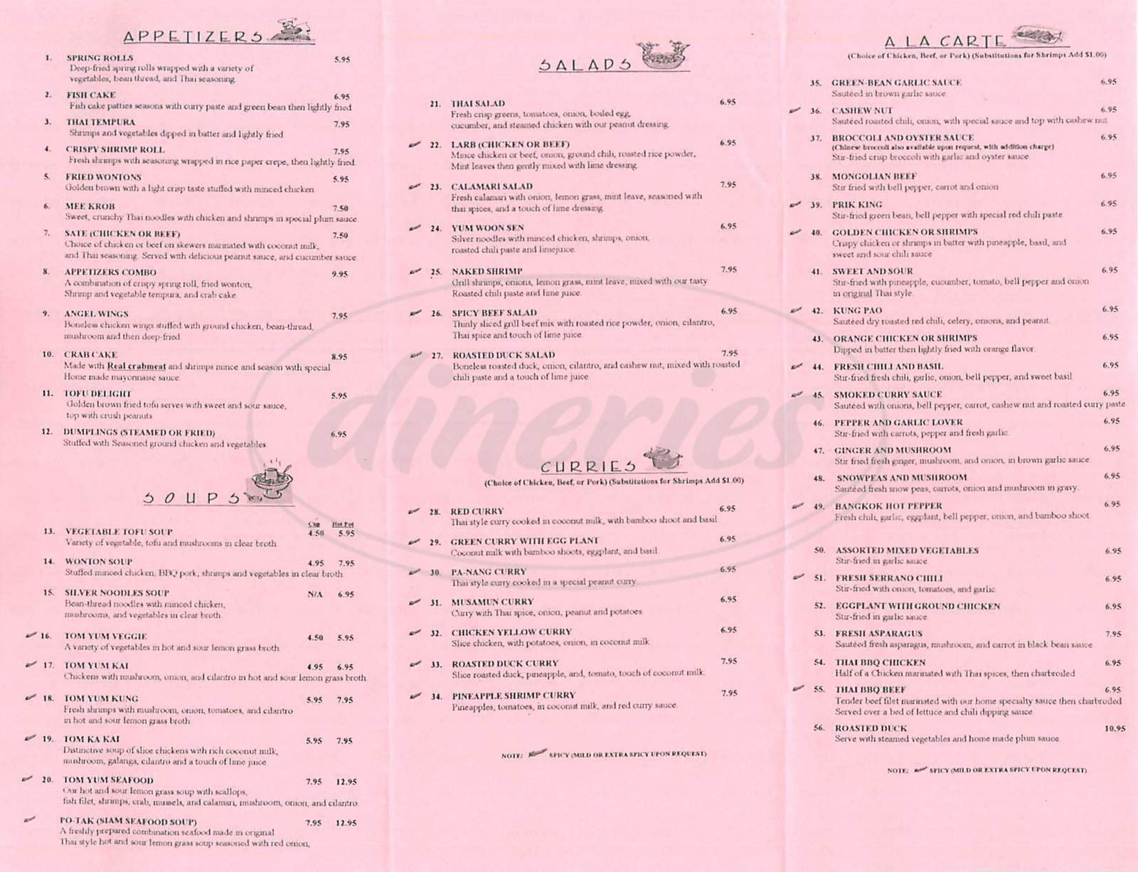 menu for Thai Valley