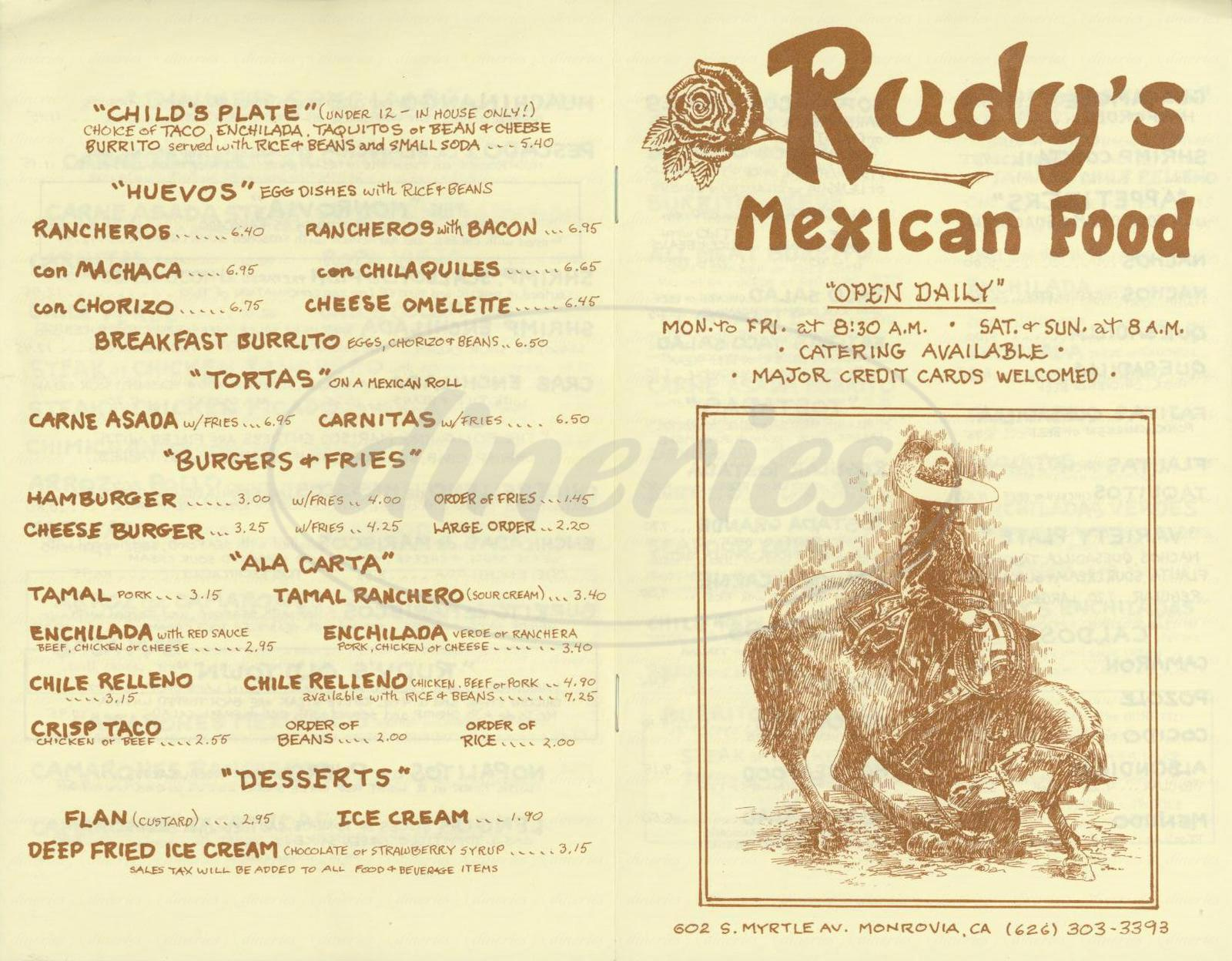 menu for Rudys Mexican Food