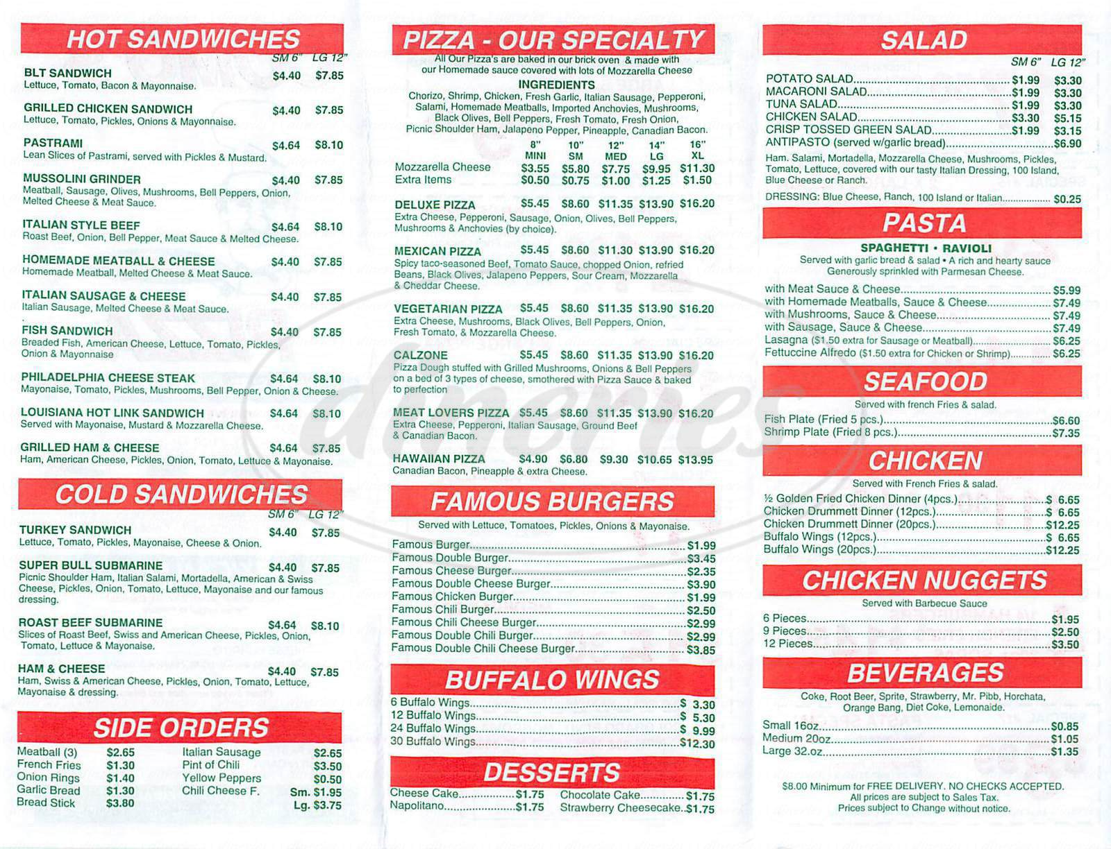 menu for Comos Pizza