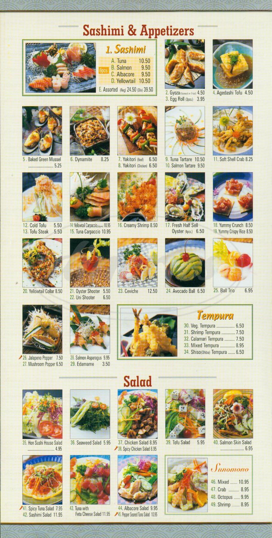 menu for Hon Sushi