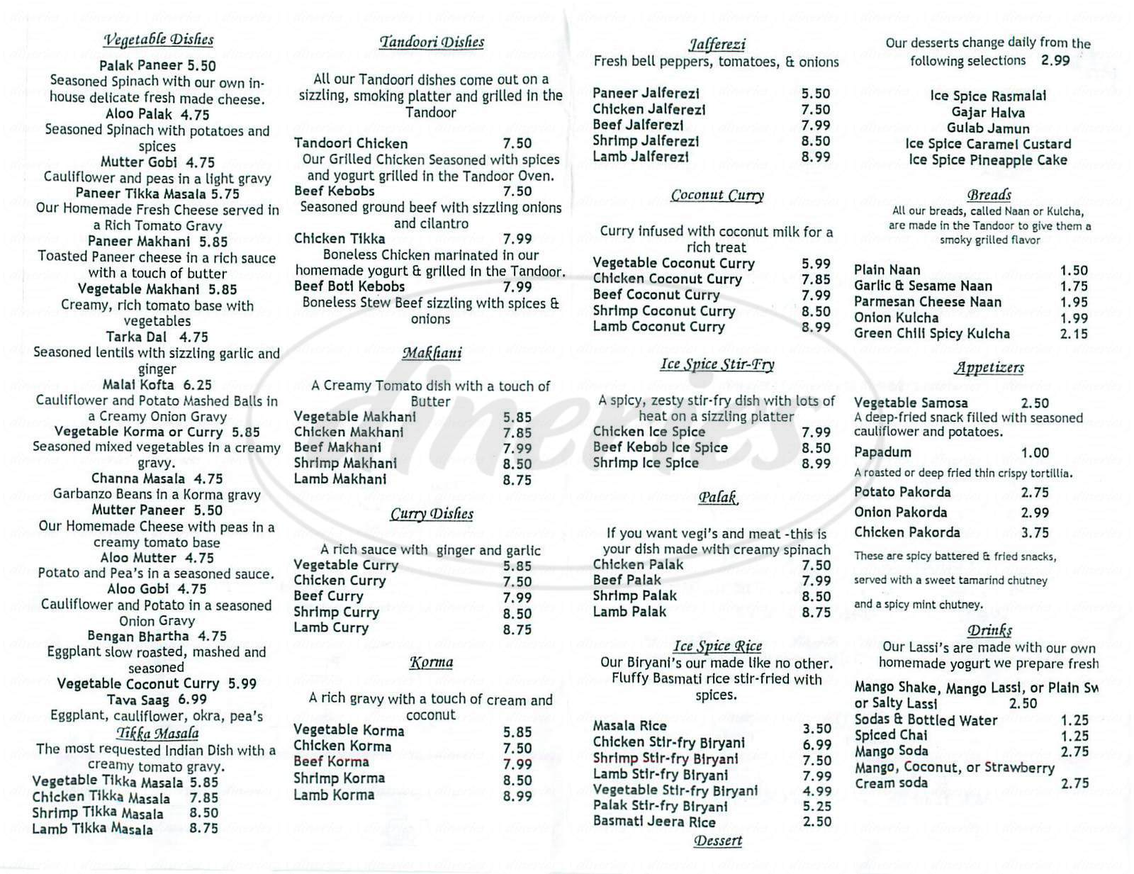menu for Ice Spice Indian Cuisine