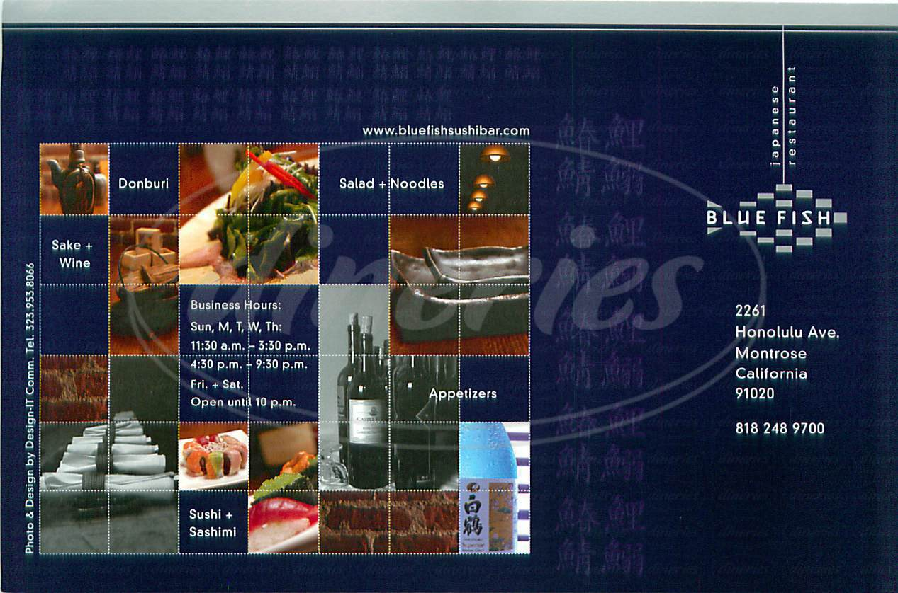 menu for Blue Fish Japanese Restaurant