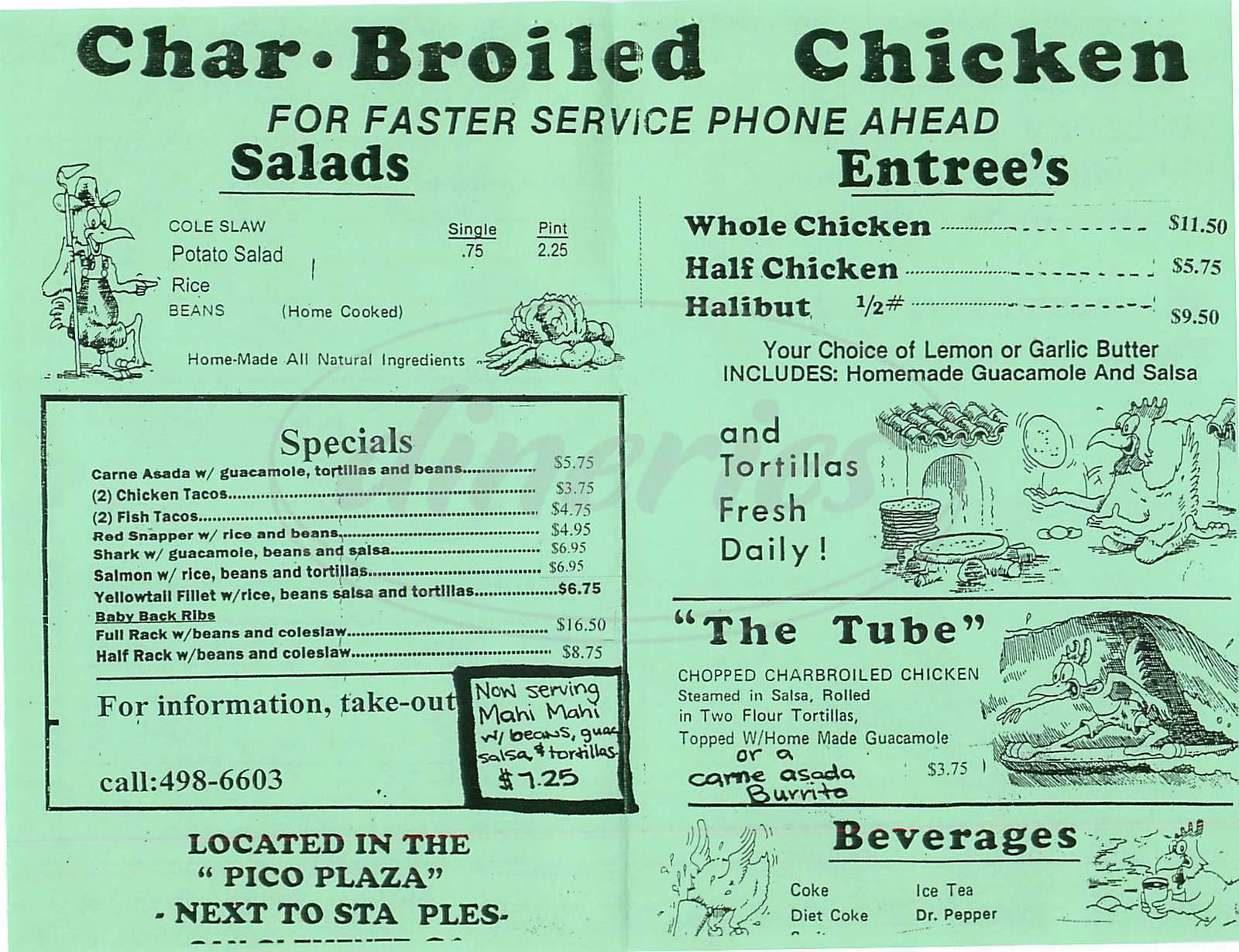 menu for Surfin Chicken