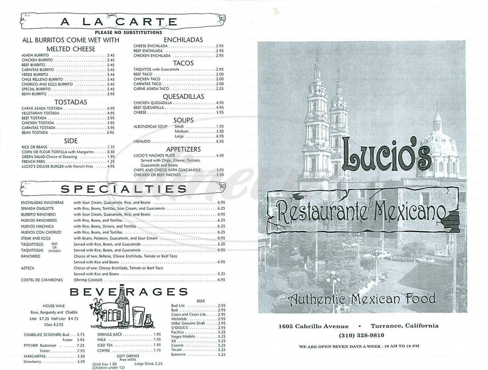 menu for Lucios Restaurant