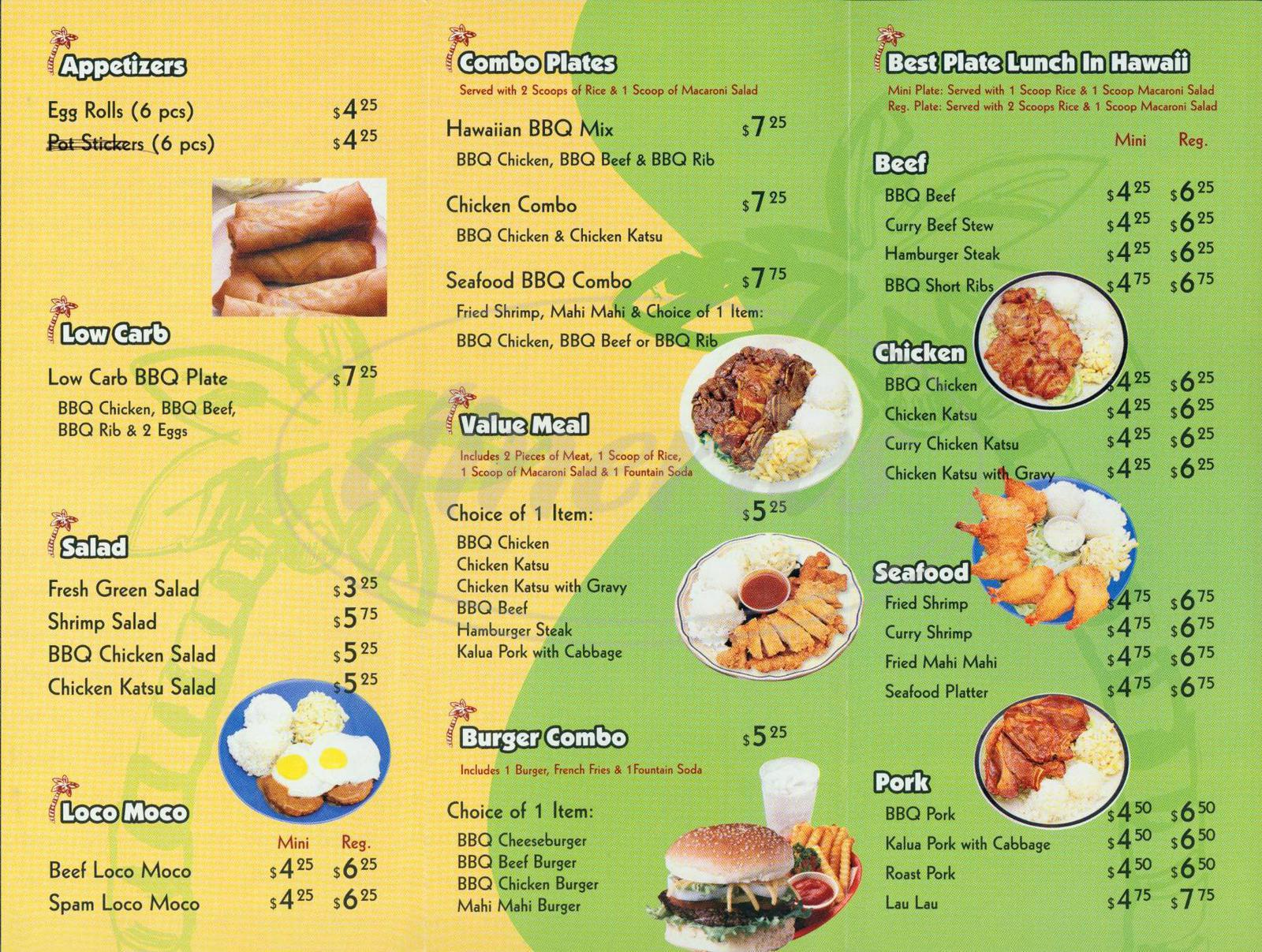 menu for Aloha Hawaiia Bbq