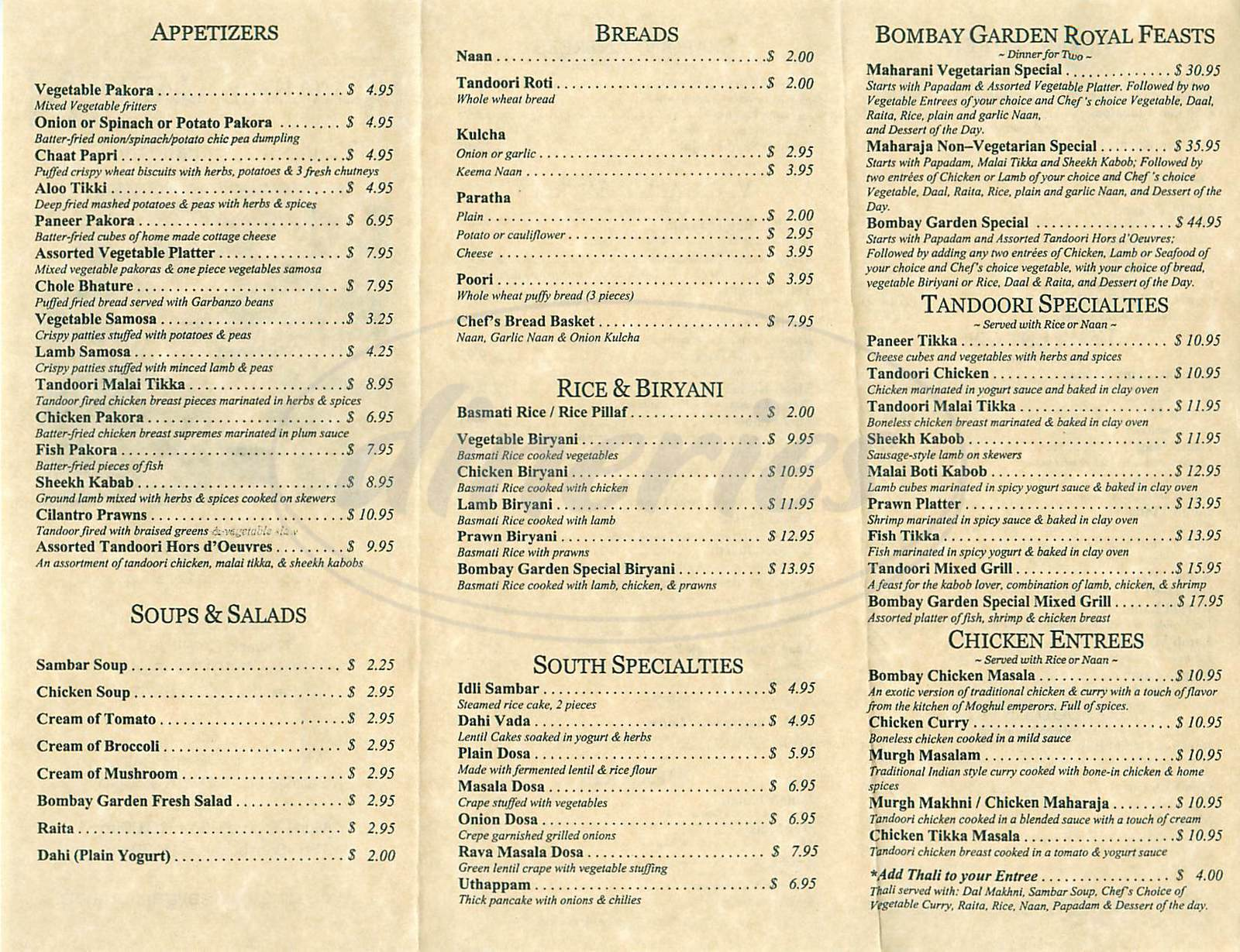 menu for Bombay Garden