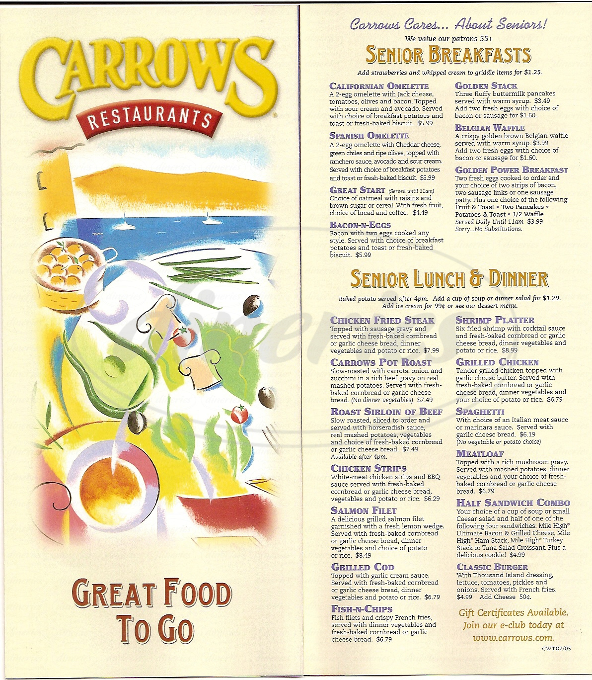 menu for Carrows