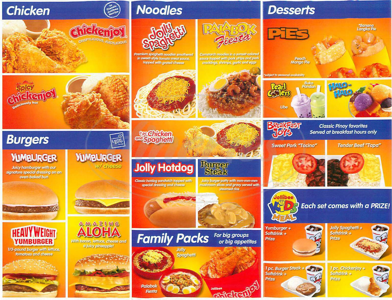 menu for Jollibee