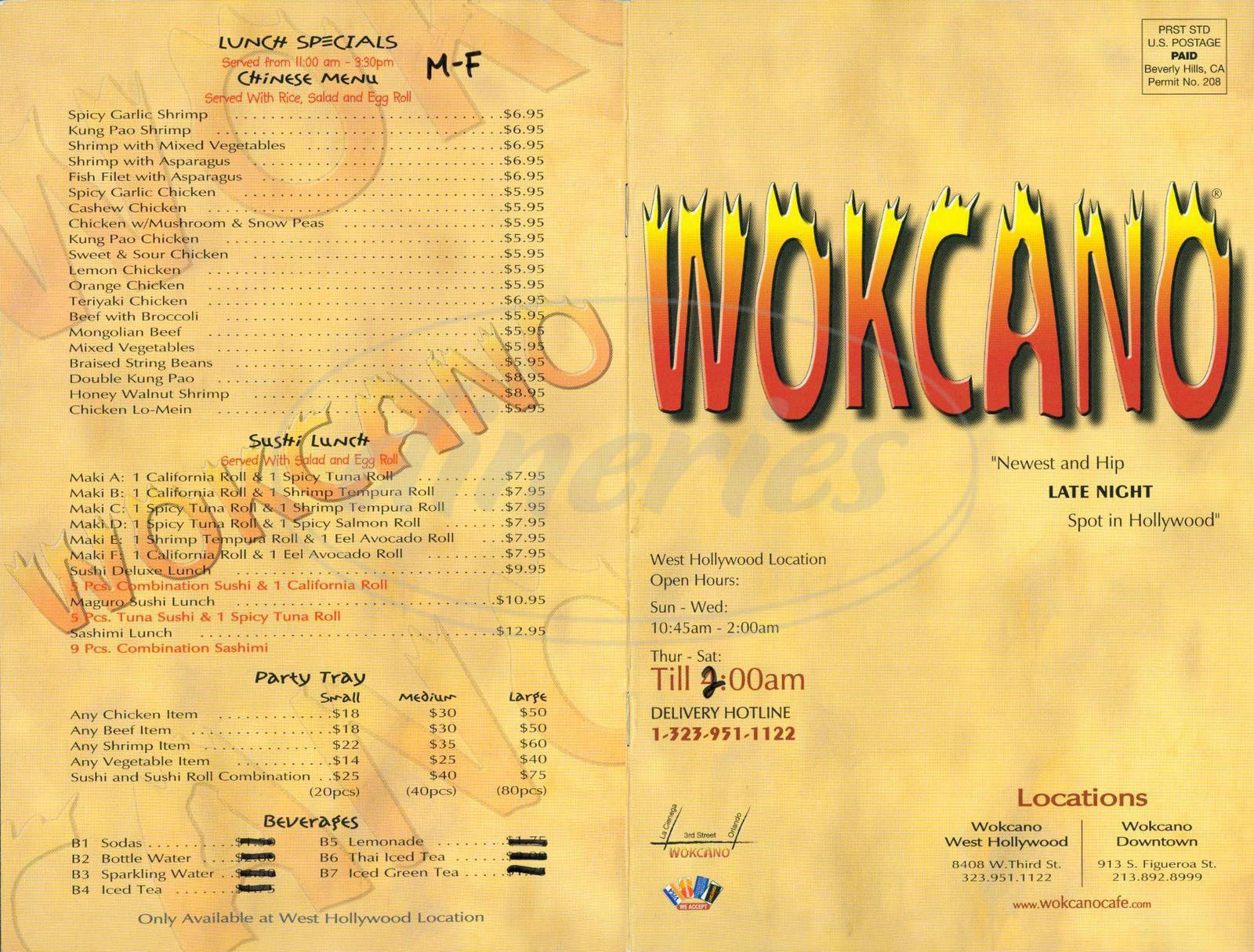 menu for Wokcano