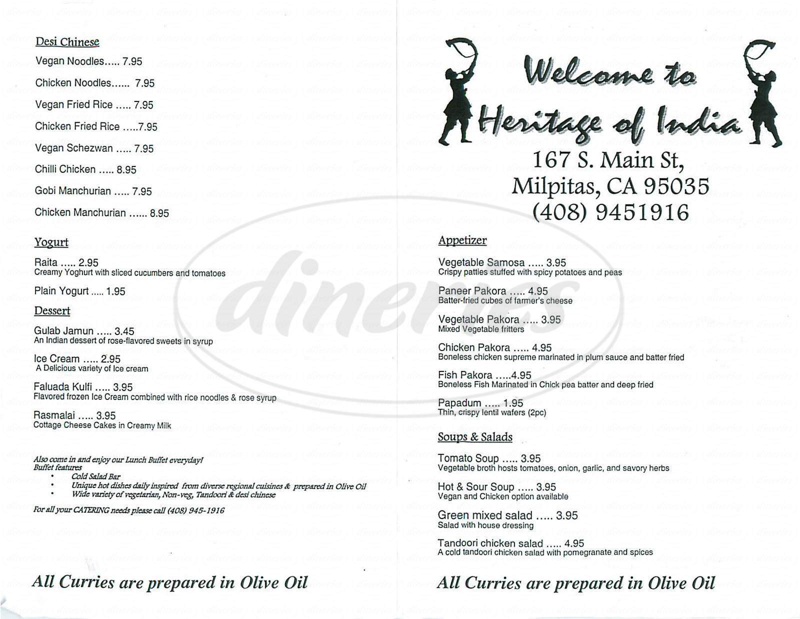 Big menu for Heritage of India, Milpitas