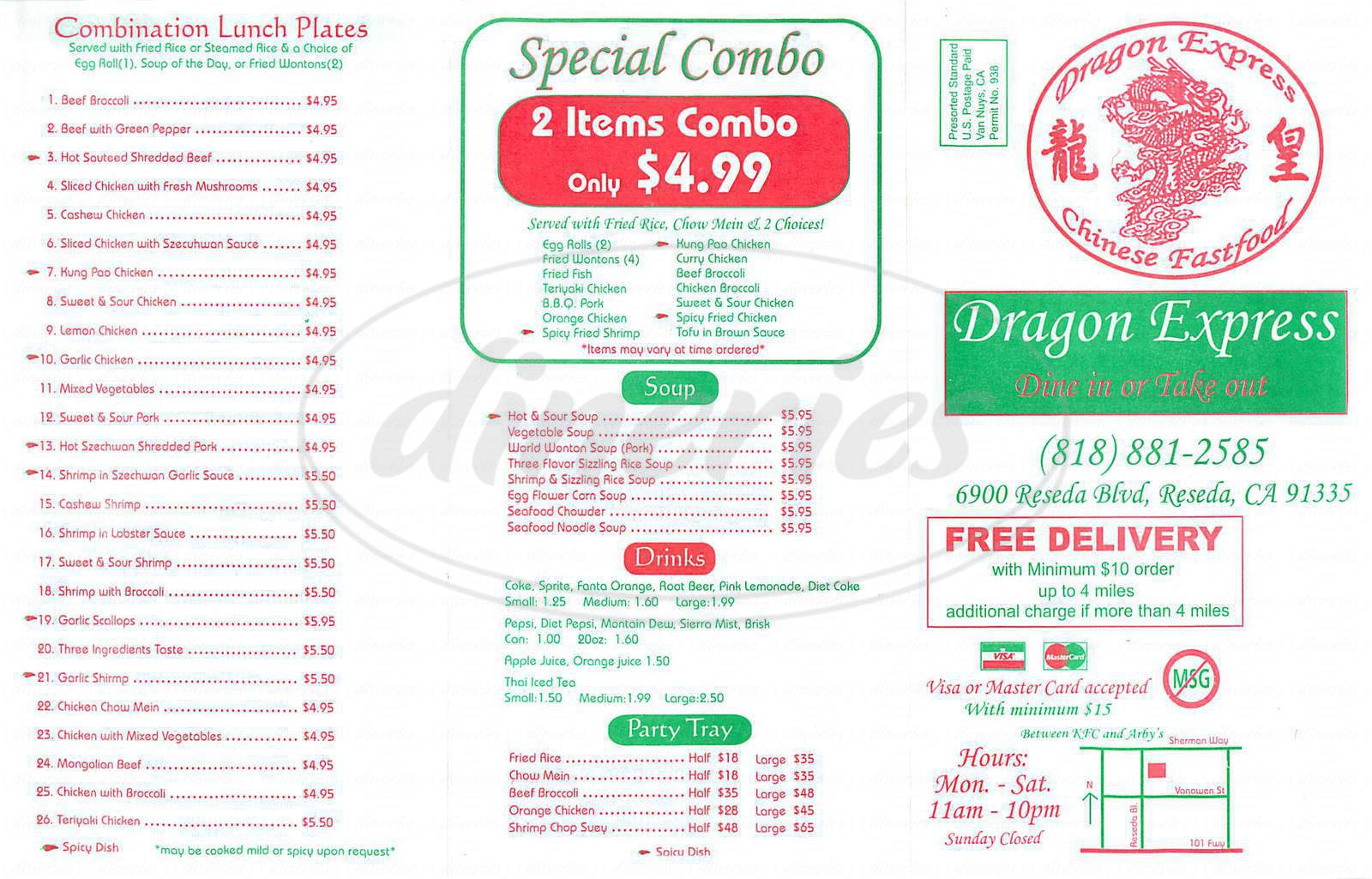menu for Dragon Express
