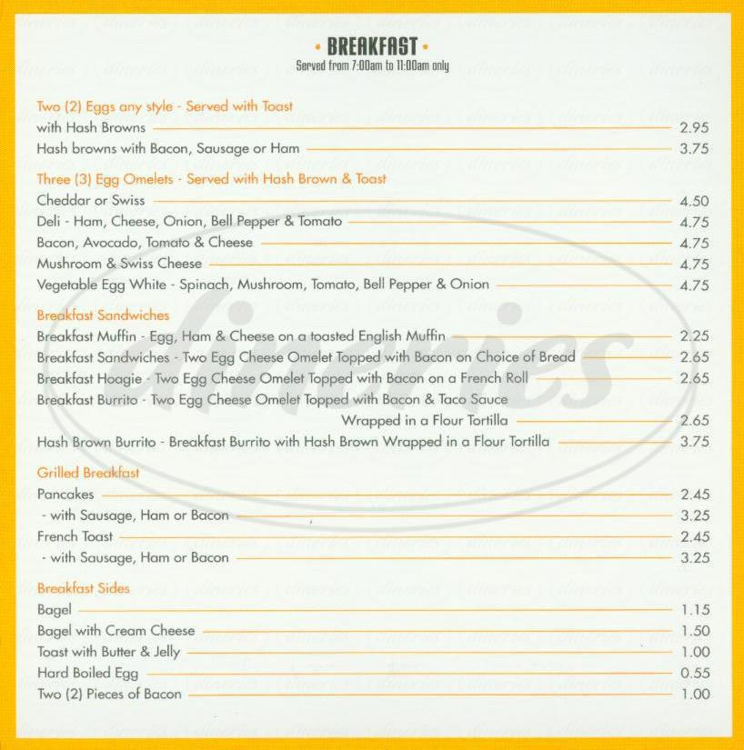 menu for Bayview Café
