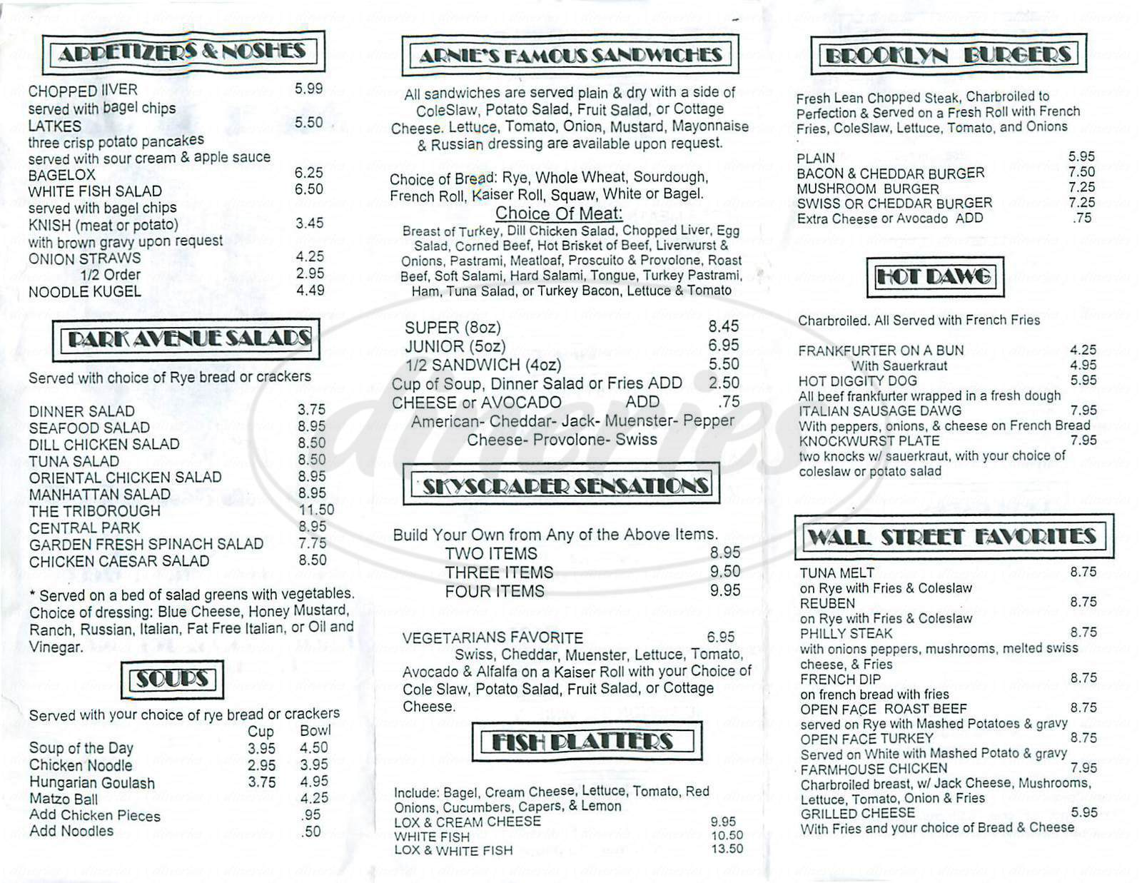 menu for Arnies Manhattan Restaurant & Deli
