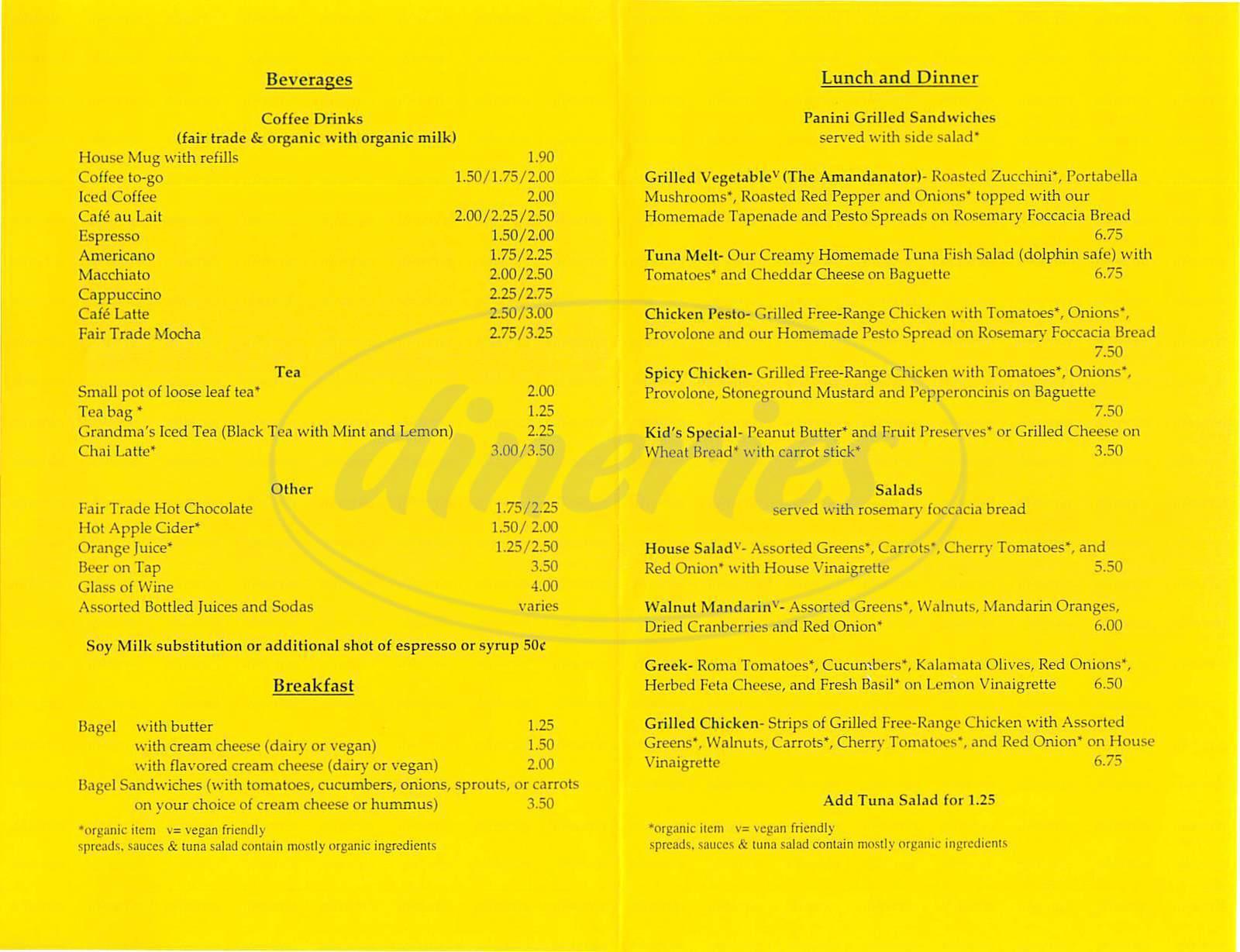 menu for Prism Café