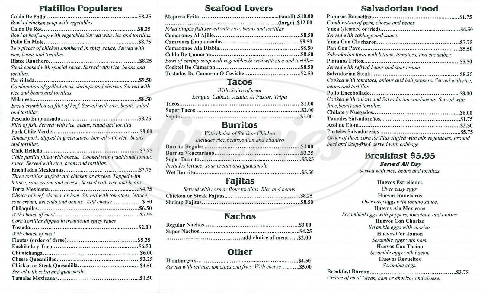 menu for Rosales Restaurant