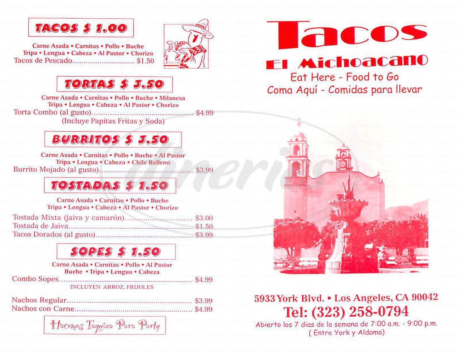 menu for Taco el Michoacano